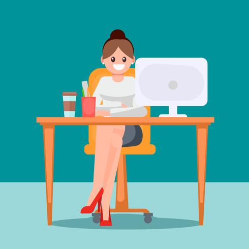 Woman in the office at the table. Vector flat illustration