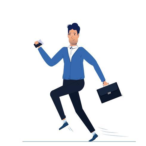 Het personage is een man die naar zijn werk rent. De ochtendzakenman gaat met koffie