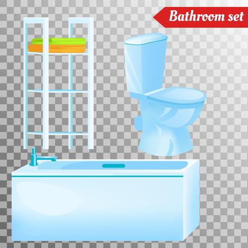 Mobiliario interior de baño y equipamiento diferente. Ilustraciones vectoriales en estilo realista. vector