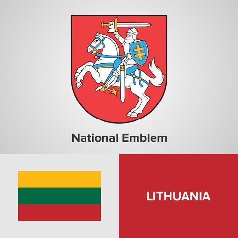 Emblema nazionale della Lituania, mappa e bandiera vettore