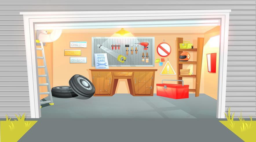 El interior del garaje. Lugar de trabajo del maestro en reparación de automóviles con herramientas de trabajo.