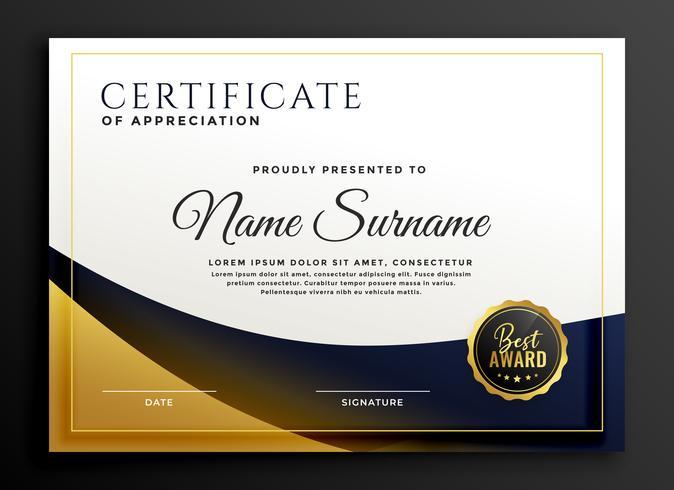 premio modello di certificato in stile dorato