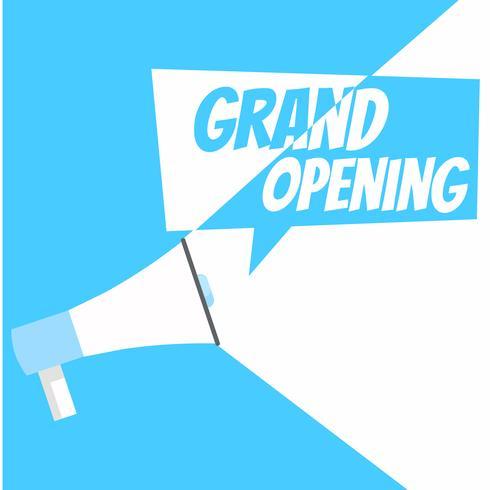 Banner di grande apertura. Grammofono con testo, su uno sfondo bianco blu. Illustrazione piatta vettoriale