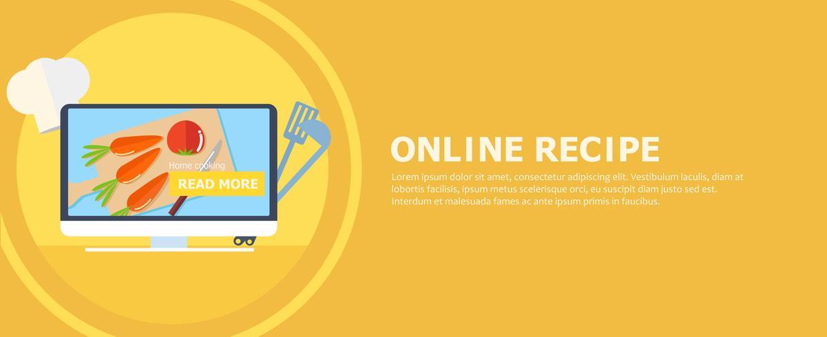 Online recept banner. Dator med bord och grönsaker på skärmen. Knapp läs mer. Vektor platt illustration