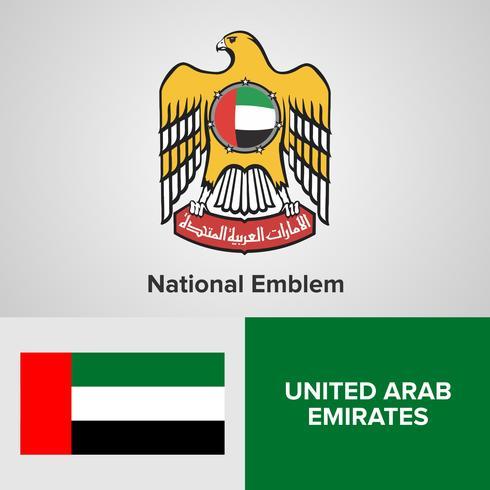 United Arab Emirates UAE National Emblem, Map and flag