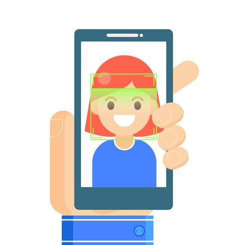 Ansiktsigenkänning och mobilidentifiering. Ung kvinna låser upp sin smartphone eller app. Vektor platt illustration