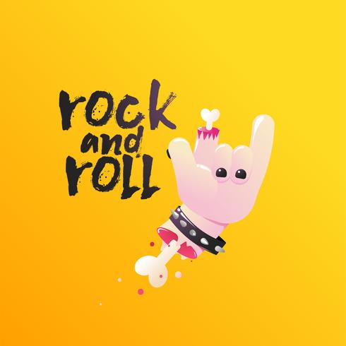Rock and Roll. Hand shows sign of the horns with bones and blood. Vector cartoon illustration