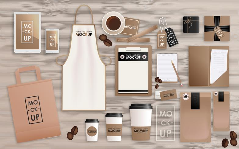 Corporate identity design template set for coffee shop or house. Mock-up package, tablet, phone, price tag, cup, notebook. Vector realistic concept