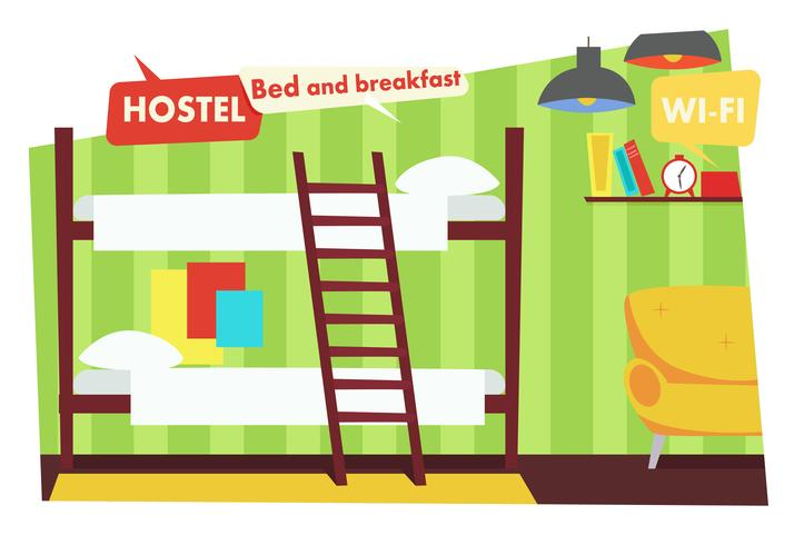 Room in Hostel. Bed and breakfast. Vector flat illustration