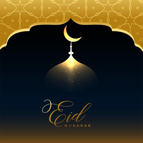 glänsande golden eid mubarak hälsning bakgrund