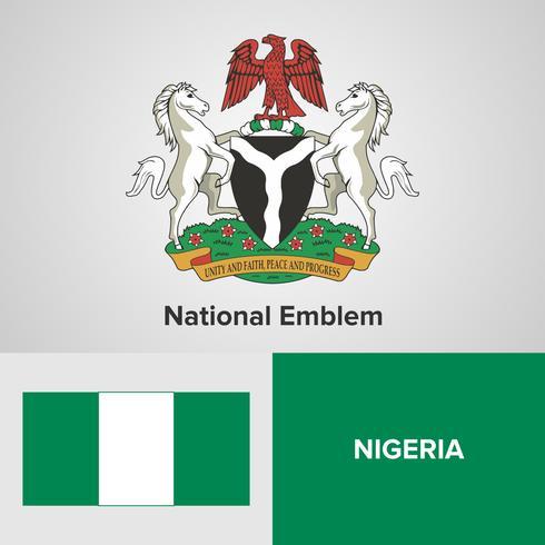 Nigeria emblema nacional, mapa y bandera