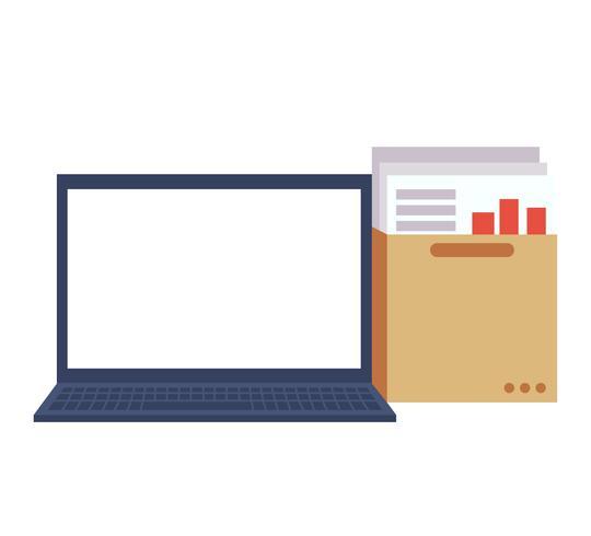 Isolerad bärbar dator med en mapp med dokument och grafer. Arbetsplatsen. Vektor platt illustration