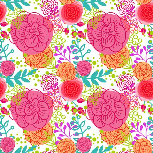 Bright pink roses  seamless pattern vector