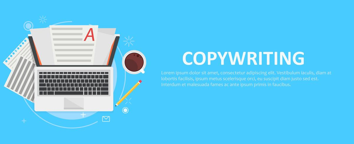 Banner copywriting. Computer with papers, coffee and pencil. Vector flat illustration