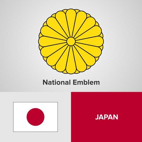 Japan National Emblem, karta och flagga