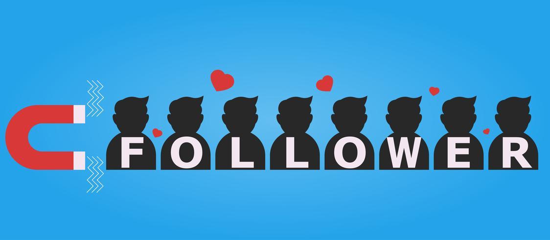 Un imán que atrae las siluetas de los seguidores y los me gusta. Vector ilustración plana