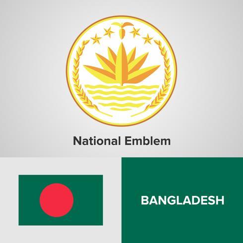Bangladeshs nationella emblem, karta och flagga