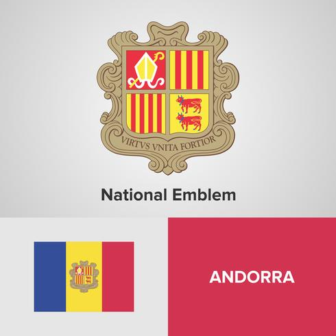 Andorra National Emblem, Map en vlag