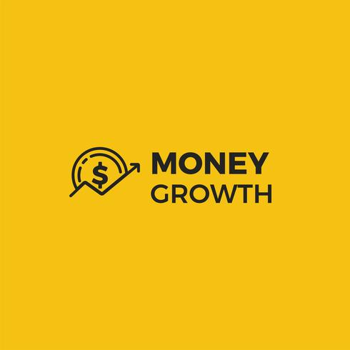 Money growth logo. Coin dollar with an arrow up logotype. Exchange Rates finance. Vector line art and realistic illustration