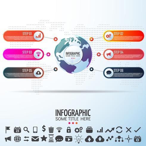 Wereldkaart Infographics ontwerpsjabloon