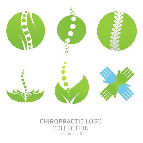 Stel het logo van de handmatige therapie in. Chiropractie en andere alternatieve geneeswijzen. Dokter, cursussen. Vector platte kleurovergang illustratie