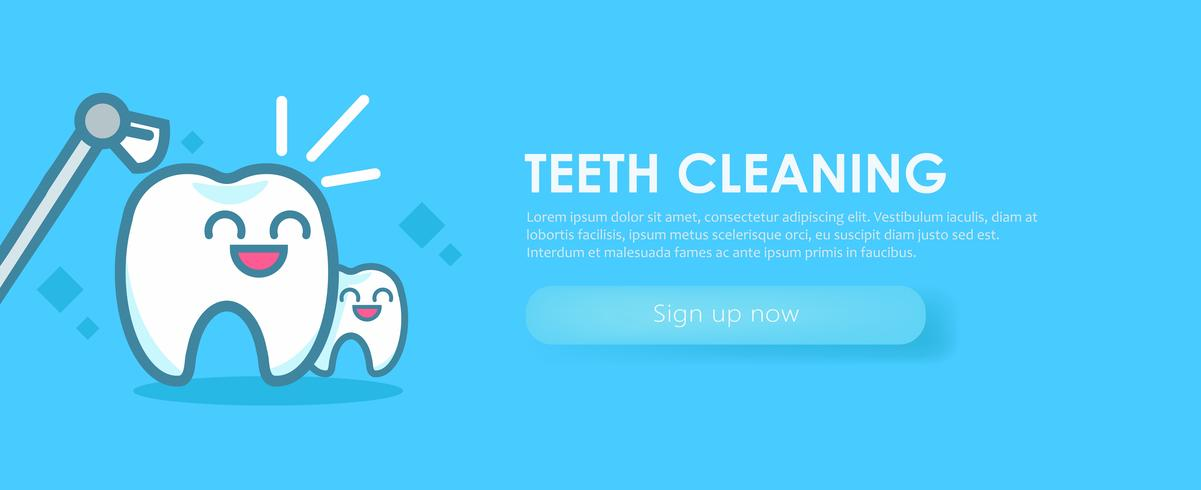 Odontologia Banners Limpieza Dientes. Lindos personajes kawaii. Vector ilustración plana