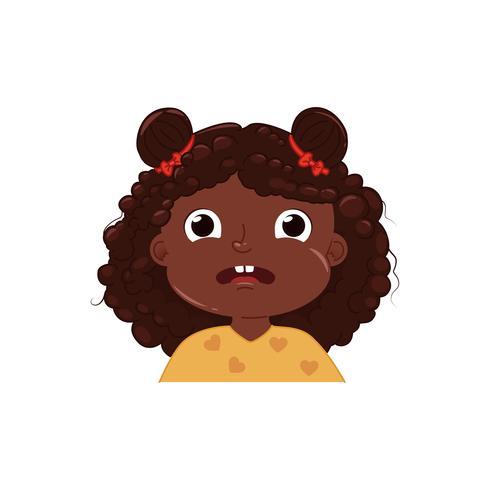 Petite fille mignonne a peur. Enfant émotion effrayé. Illustration de dessin animé de vecteur