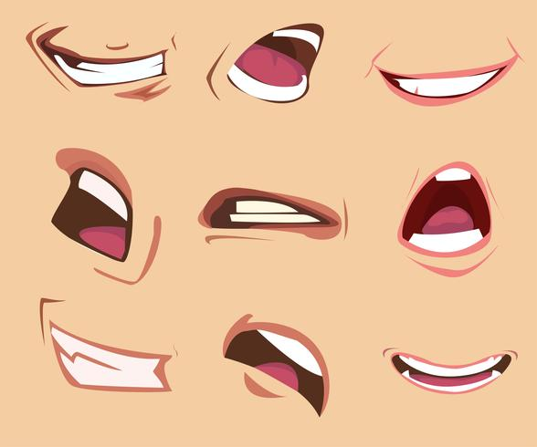 Cartoon-Mundausdrücke eingestellt. Vektor-Illustration