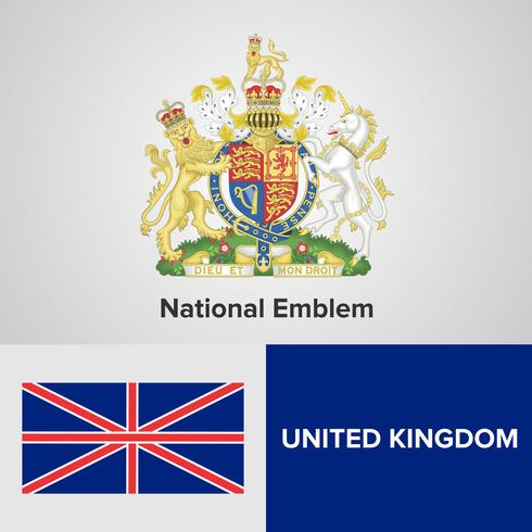 Königreich Emblem, Karte und Flagge