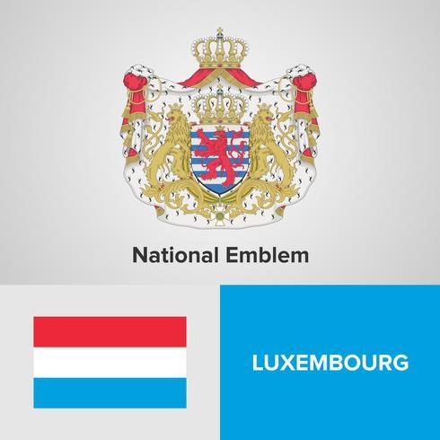 Luxemburgo emblema nacional, mapa y bandera