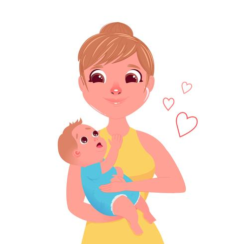 The Mother S Character With A Small Child In Hugs Love From Mom To Baby Vector Cartoon Character Download Free Vectors Clipart Graphics Vector Art