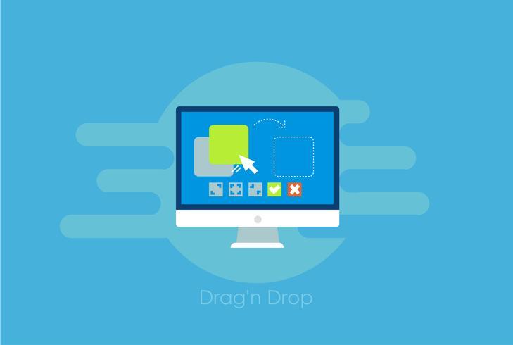 Drag en drop banner. Computer met de functies voor programma- en site-configuratie-instellingen. Platte vectorillustratie