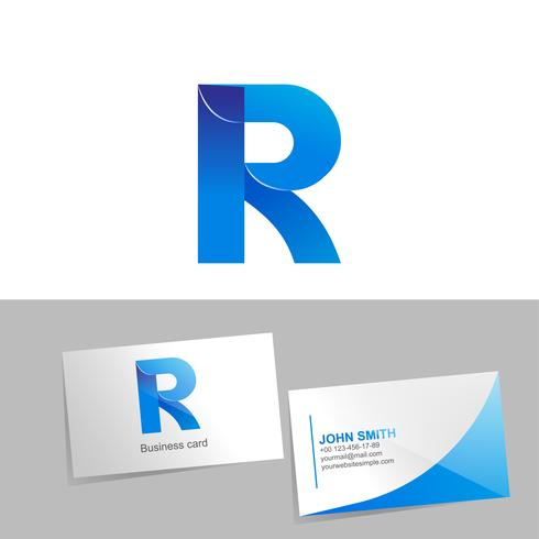Gradient logo with the letter of the logo. Mockup business card on white background. The concept of technology element design. illustration