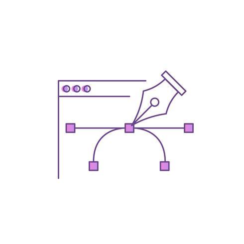 Outil de stylo pour la conception de sites Web. Icône de dégradé de ligne de vecteur