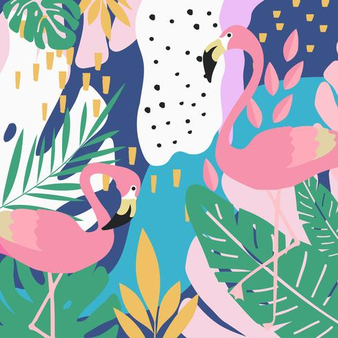 Tropical jungle leaves background with flamingos vector