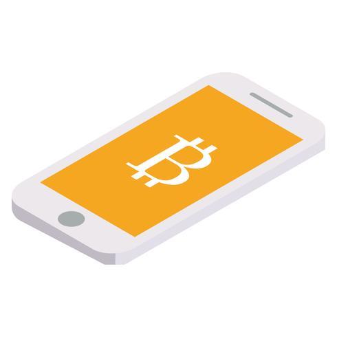 Bitcoin vuela por teléfono. Vector ilustración isométrica