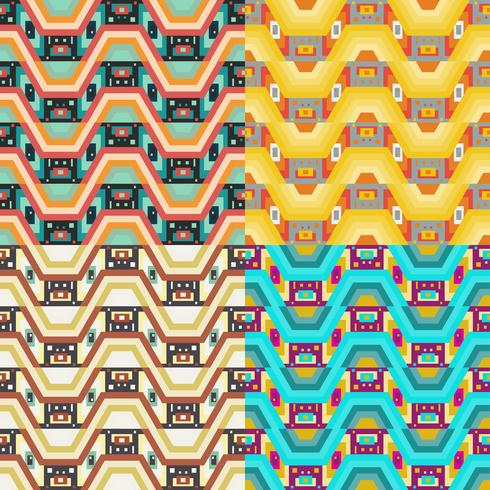 Retro different seamless patterns tiling.  vector