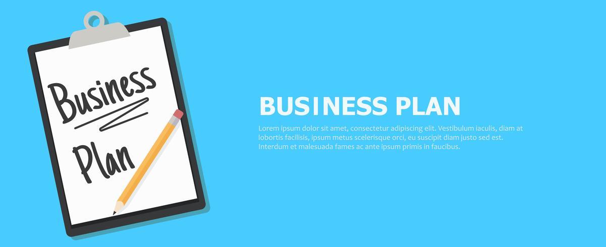 Business plan banner. Tablet met een tekst en een potlood. Platte vectorillustratie