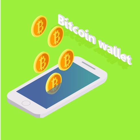 Bitcoin vole du téléphone. Illustration isométrique vectorielle