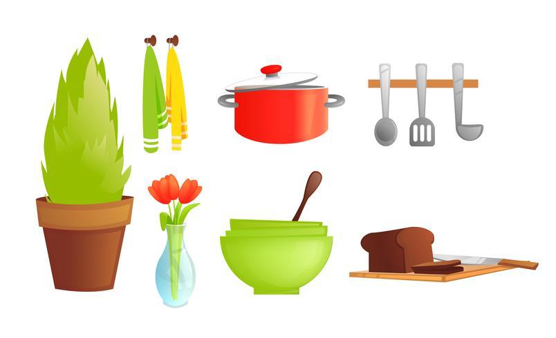 Vajilla de cocina. Platos y objetos interiores como cacerola, heladera con pan, planta. Ilustración vectorial de dibujos animados