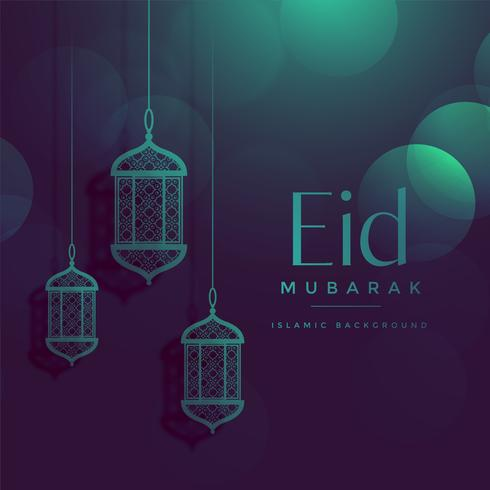 eid mubarak fundo bonito bokeh com lâmpadas de suspensão