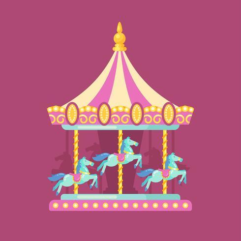 Ilustração plana de carnaval de parque de diversões. Ilustração de parque de diversões de um carrossel rosa e amarelo com cavalos à noite
