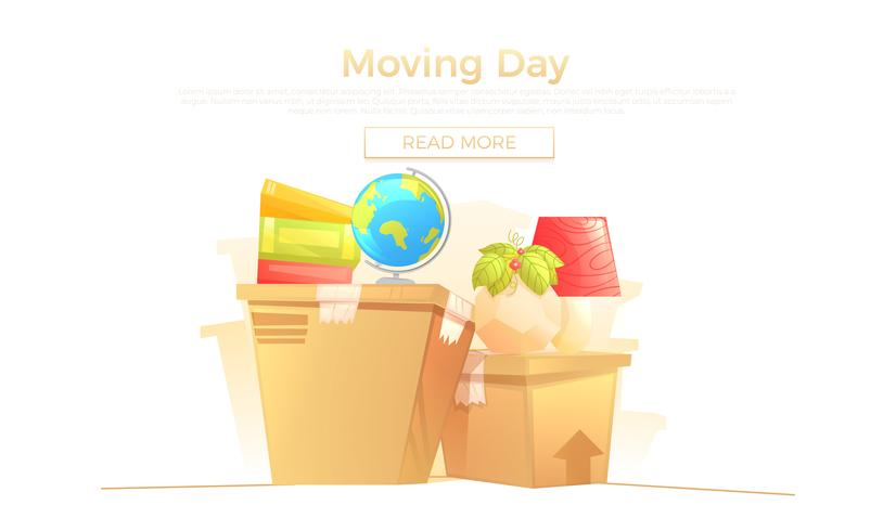 Listo pasar al nuevo concepto de banner de la casa. La caja y los muebles son para el día de la mudanza. Ilustración vectorial de dibujos animados