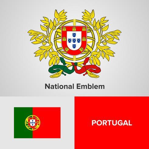 Portugals nationella emblem, karta och flagga