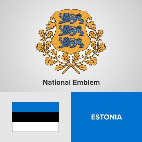 Emblema nacional da Estónia, mapa e bandeira
