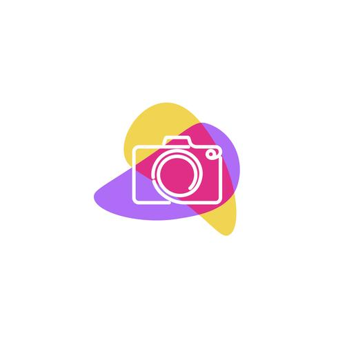 Creative logo with photo camera. Sign for the photographer. Black line with yellow background flat modern logotype