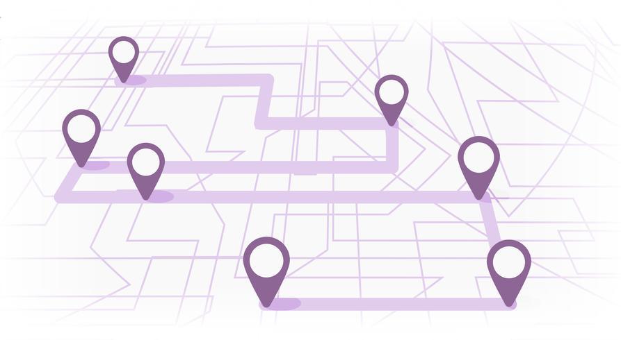 Mapa digital con siete puntos de colores. El camino de la navegación por la ciudad con el principio y el final. Vector banner infografía