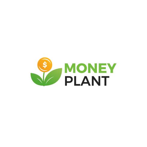 Money plant logo. Growth of investments and investments. Trust Fund logotype. vector