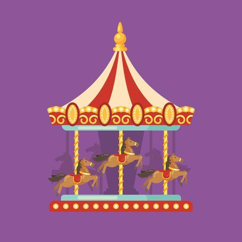Flache Illustration des Karneval-Karnevals. Vergnügungsparkillustration eines roten und gelben Karussells mit Pferden nachts