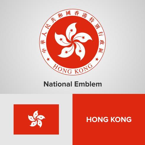 Hong Kong emblema nacional, mapa y bandera